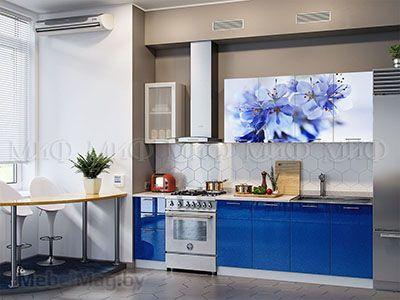 Кухня Техно с фотопечатью (синий) вид 5