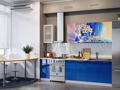 Кухня Техно с фотопечатью (синий) вид 6