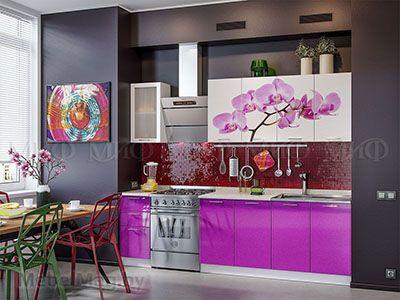 Кухня Техно с фотопечатью (фиолетовый) вид 1
