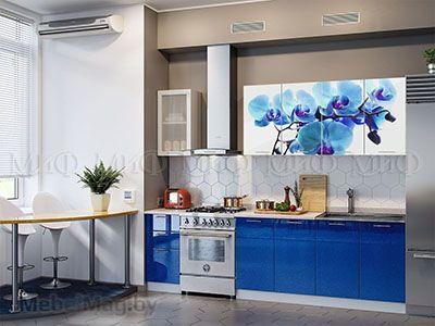 Кухня Техно с фотопечатью (синий) вид 7