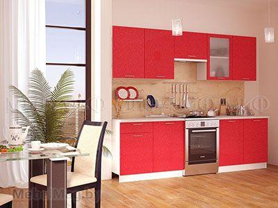 Кухня Техно (красный) вид 1