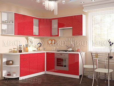 Кухня Техно (красный) вид 3