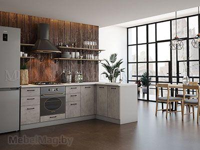 Кухня Техно бетон вид 1