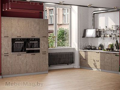 Кухня Техно бетон вид 4