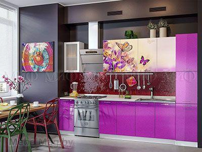 Кухня Техно с фотопечатью (фиолетовый) вид 2