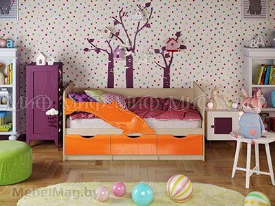 Кровать Дельфин-1 - Глянец оранжевый (1,6м)