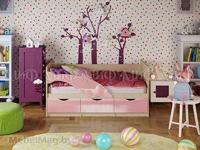 Кровать Дельфин-1 - Глянец розовый (1,6м)