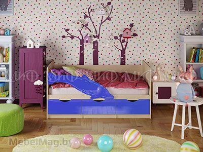 Кровать Дельфин-1 - Глянец синий (1,6м)