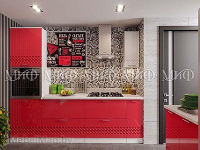 Кухня Техно (красный) вид 11