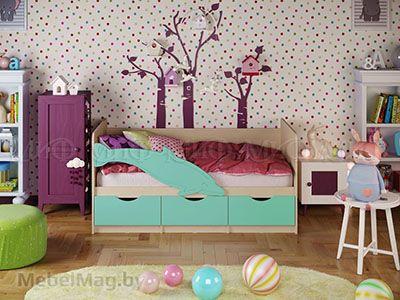 Кровать Дельфин-1 - Матовый бирюза (1,6м)