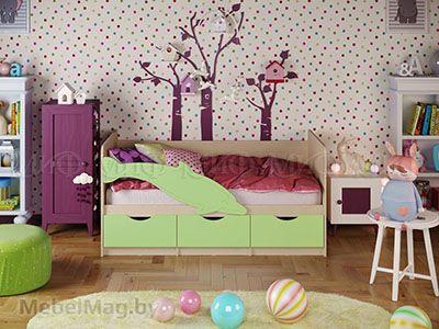 Кровать Дельфин-1 - Матовый салатовый (1,6м)