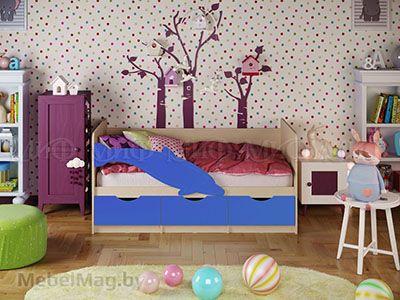 Кровать Дельфин-1 - Матовый синий (1,6м)