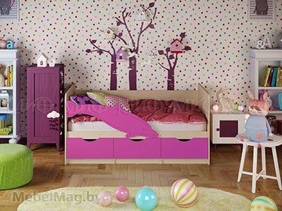 Кровать Дельфин-1 - Матовый сиреневый (1,6м)