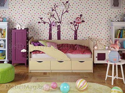 Кровать Дельфин-1 - Матовый ваниль (1,6м)