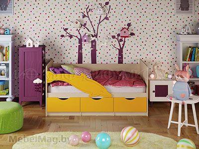 Кровать Дельфин-1 - Матовый желтый (1,6м)