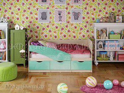 Кровать Бабочка - Глянец бирюза