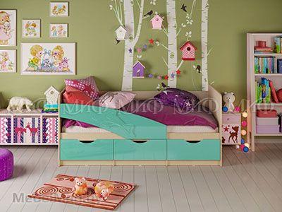 Кровать Дельфин - Глянец бирюза (1,6м)