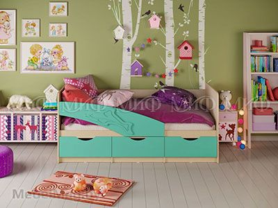Кровать Дельфин - Матовый бирюза