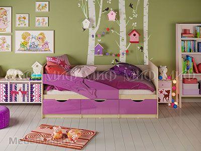 Кровать Дельфин - Глянец фиолетовый (1,6м)