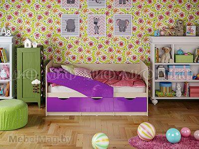 Кровать Бабочка - Глянец фиолетовый