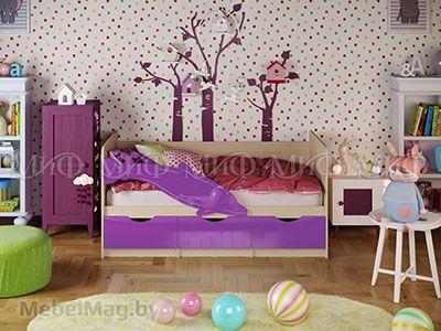 Кровать Дельфин-1 - Глянец фиолетовый (1,6м)