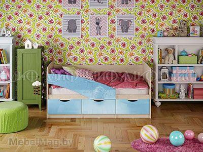 Кровать Бабочка - Глянец голубой