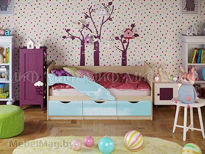 Кровать Дельфин-1 - Глянец голубой (1,6м)