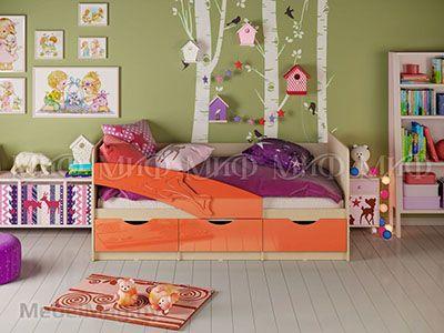 Кровать Дельфин - Глянец оранжевый (1,6м)