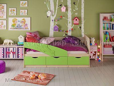 Кровать Дельфин - Матовый салатовый (1,6м)
