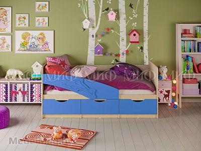 Кровать Дельфин - Матовый синий (1,6м)
