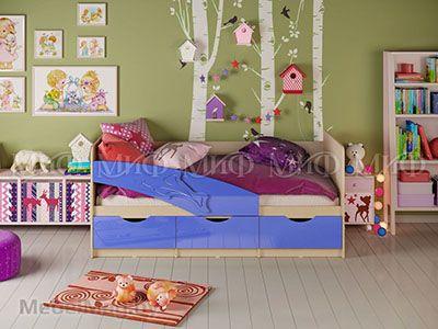 Кровать Дельфин - Глянец синий (1,6м)