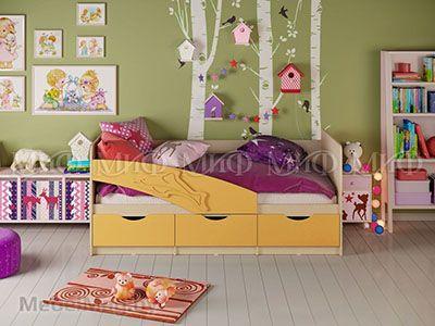 Кровать Дельфин - Матовый желтый (1,6м)