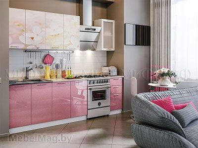 Кухня Вишнёвый цвет вид 1