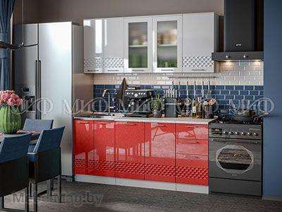 Кухня Техно (красный) вид 5