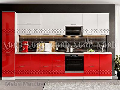 Кухня Техно (красный) вид 7