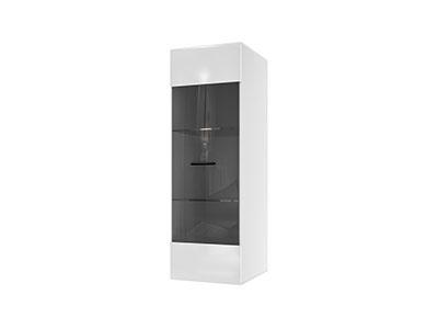 Шкаф навесной (со стеклом) Белый/Белый глянец - Соло