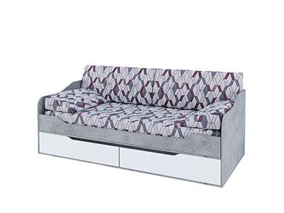 Кровать-диван с ящиками 0,9x2,0 (без фотопечати) Цемент св./Белый - Грей