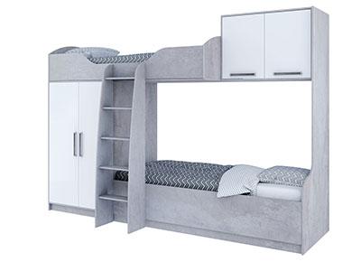 Кровать двухъярусная (без фотопечати) Цемент св./Белый - Грей
