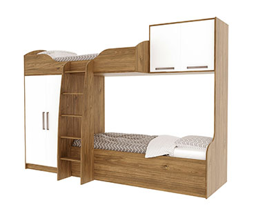 Кровать двухъярусная (без фотопечати) Гикори тм./Белый - Гарвард