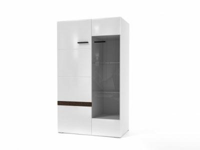 Шкаф-витрина Белый/Белый глянец-Венге - Соло