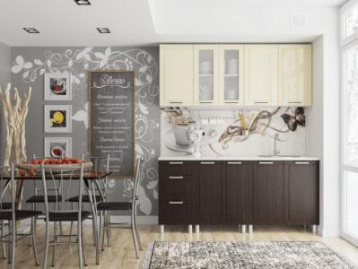 Кухня Геометрия 1,8м Ваниль/Дуб Венге