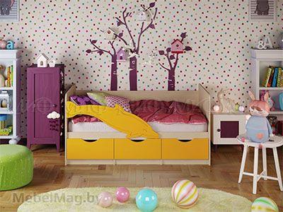 Кровать Дельфин-1 - Матовый желтый (1,8м)
