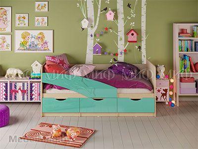 Кровать Дельфин - Глянец бирюза (1,8м)