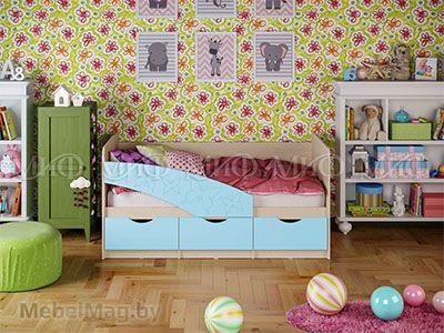 Кровать Бабочка - Матовый голубой