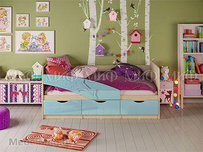 Кровать Дельфин - Глянец голубой