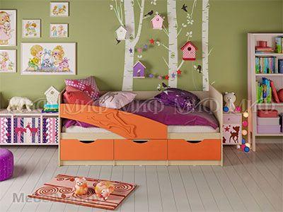 Кровать Дельфин - Матовый оранжевый (1,8м)