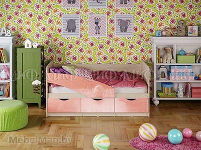Кровать Бабочка - Глянец розовый