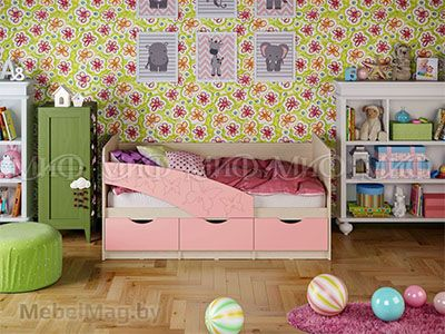 Кровать Бабочка - Матовый розовый