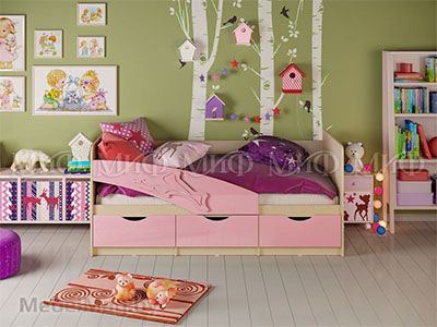 Кровать Дельфин - Глянец розовый (1,8м)