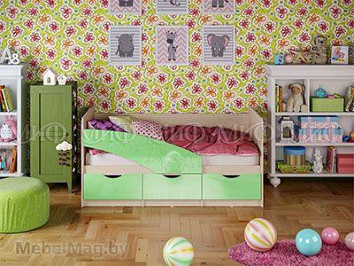 Кровать Бабочка - Глянец салатовый